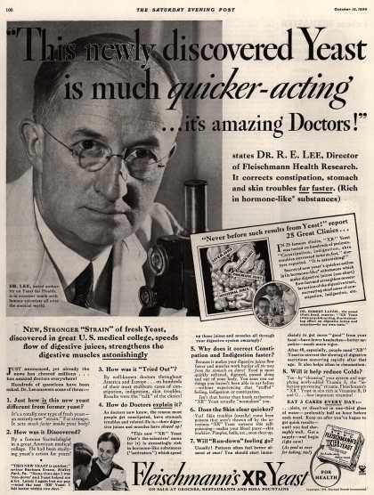 "Standard Brand's Fleischmann's XR Yeast – ""This newly discovered Yeast is much quicker-acting... it's amazing Doctors!"" (1934)"