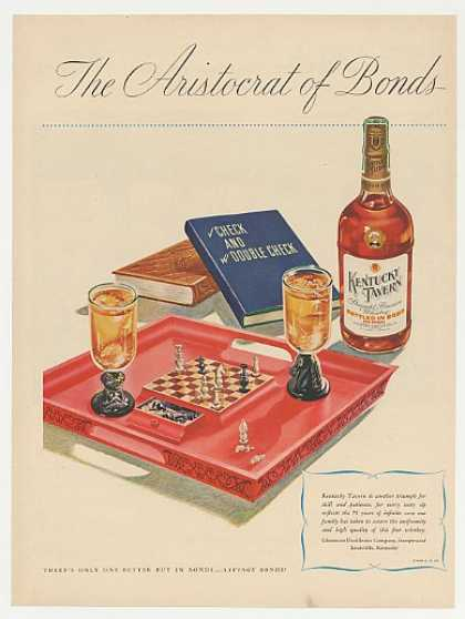 Kentucky Tavern Whiskey Chess Game Board (1946)