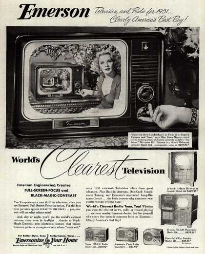 Emerson Radio and Phonograph Corporation's Television – Emerson, Television and Radio for 1951... Clearly America's Best Buy (1950)