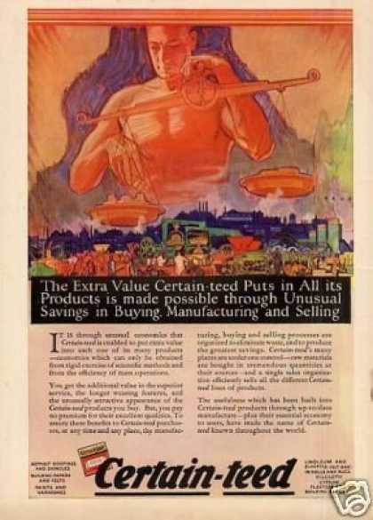 Certain-teed Products Color Ad Paus Art (1925)