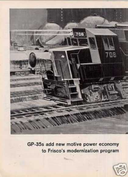 Gm/emd Locomotive Ad Frisco Railway Gp-35's (1964)