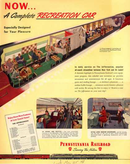 Pennsylvania Railroad's Recreation Car – Now...A Complete Recreation Car (1948)