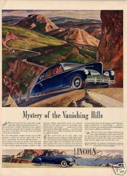 "Lincoln Zephyr Car Ad ""Mystery of the Vanishing... (1941)"
