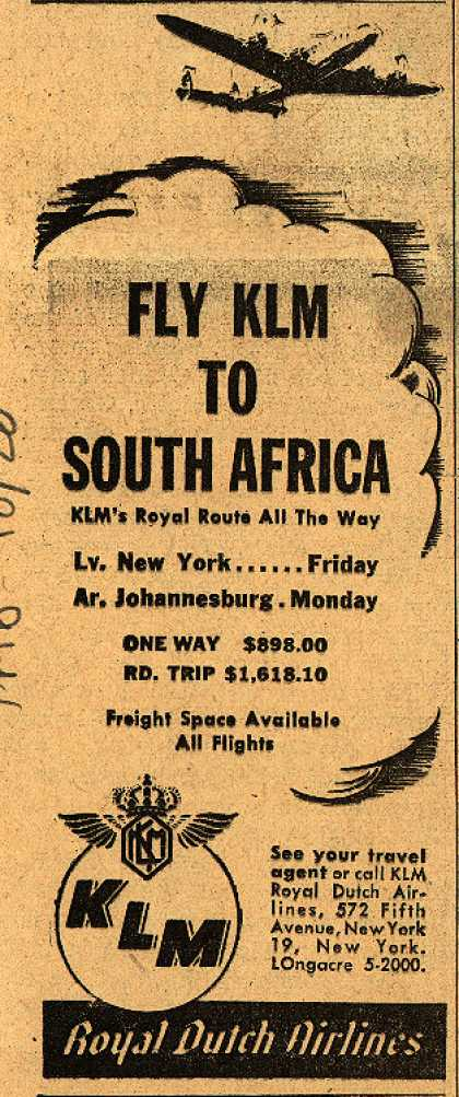 KLM Royal Dutch Airline's South Africa – Fly KLM to South Africa (1947)