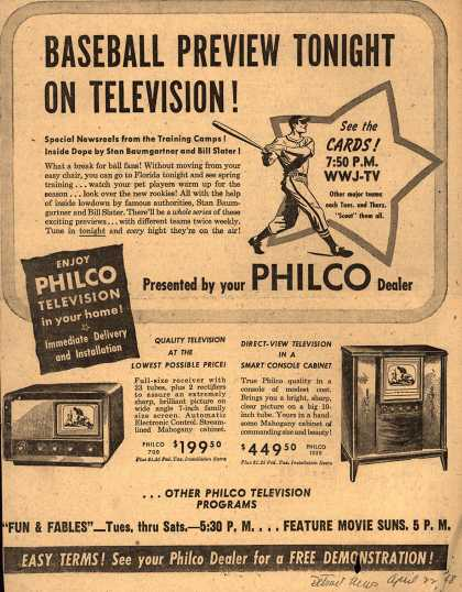 Philco's various – Baseball Preview Tonight on Television (1948)