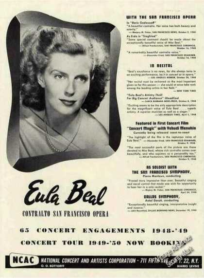 Eula Beal Contralto San Francisco Opera Booking (1949)