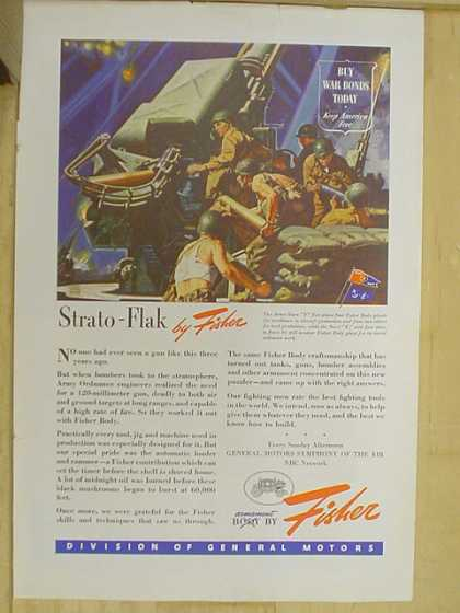 Body by Fisher. Strato Flak Buy War Bonds war theme (1941)