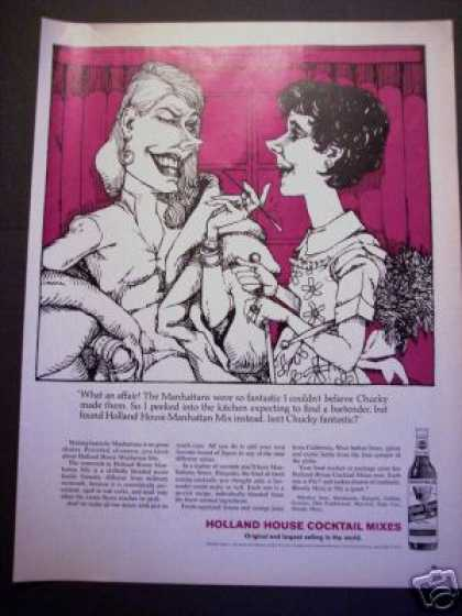 Original Holland House Cocktail Cartoon Art (1964)