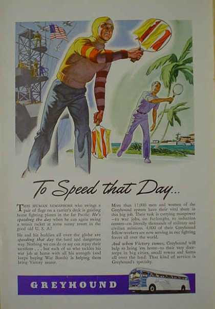 Greyhound Bus Lines Military theme To speed that day (1941)