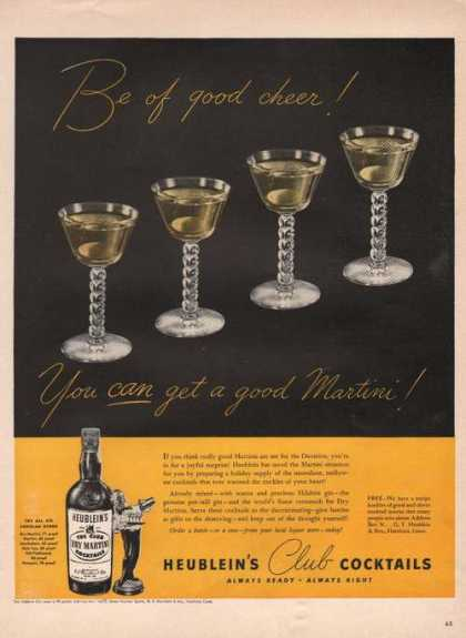 Heubleins Club Cocktails Good Cheer (1942)