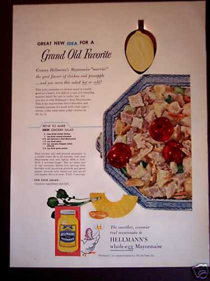Hellmann's Mayonnaise Recipe for Chicken Salad (1955)