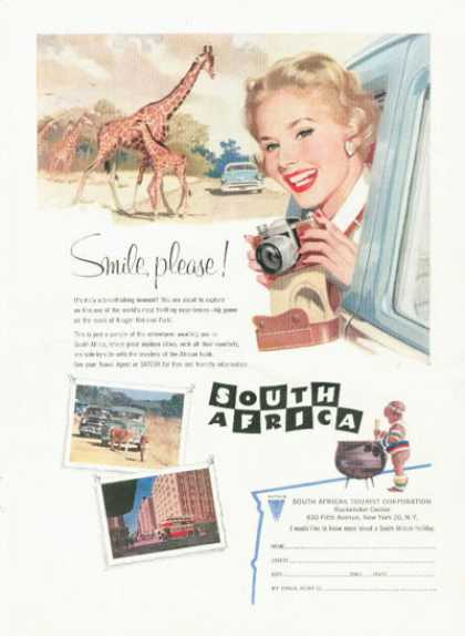South Africa Travel Tourist Ad Giraffe Photography (1958)