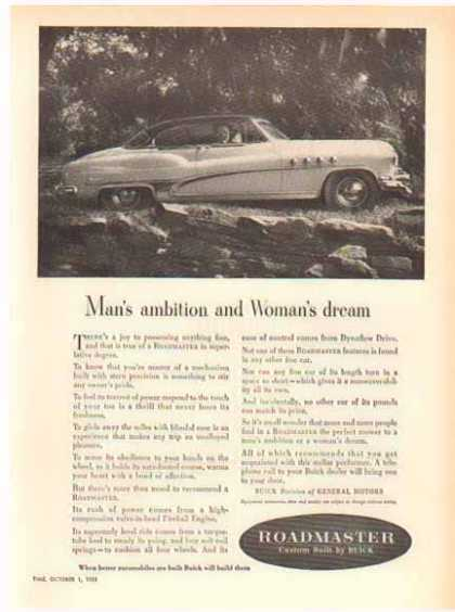 Buick Roadmaster Car – Man's ambition Woman's dream (1952)