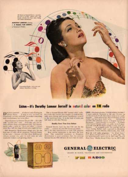 General Electric Fm Radio Ad Dorothy Lamour (1945)