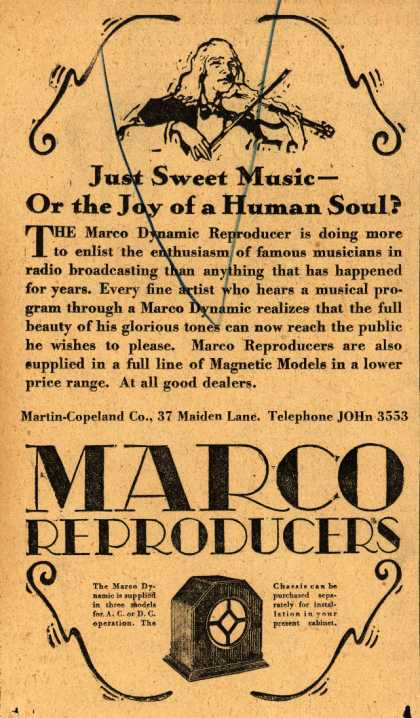 Martin-Copeland Company's Marco Dynamic Reproducers – Just Sweet Music – Or the Joy of a Human Soul? (1928)