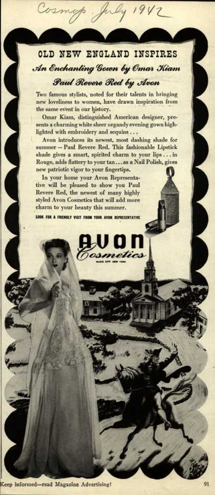 Avon – Old New England Inspires An Enchanting Gown by Omar Kiam, Paul Revere Red by Avon (1942)