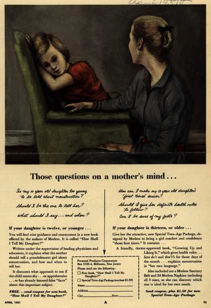 Modes's Sanitary Napkins – Those questions on a mother's mind... (1951)