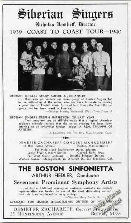 Siberian Singers Coast To Coast Tour (1939)