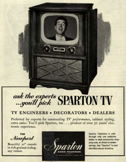 Sparton Radio-Television's The Newport – ask the experts... you'll pick Sparton TV TV Engineers-Decorators-Dealers (1951)
