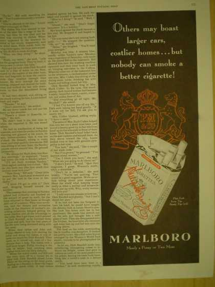 Marlboro Cigarettes. Nobody can smoke a better cigarette (1949)