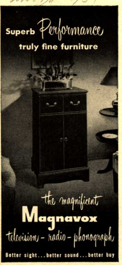 Magnavox Company's Radio Phonograph Television – Superb Performance truly fine furniture (1951)
