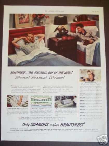 Simmons Beautyrest Mattress Twin Beds 40s Decor (1949)