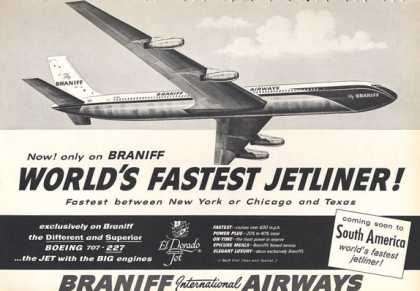 Braniff Airways Boeing 707 Jet Plane (1960)