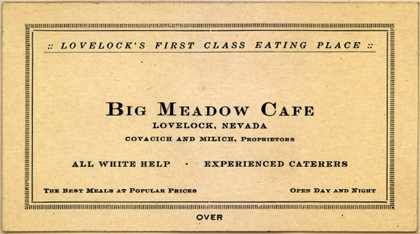 Big Meadow Café's Cafe – Lovelock's First Class Eating Place