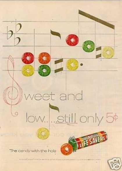 Life Savers Candy Ad &quot;Sweet and Low... (1955)