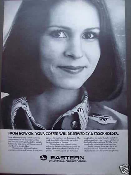 Eastern Airline Stewardess Is Stockholder Photo (1980)