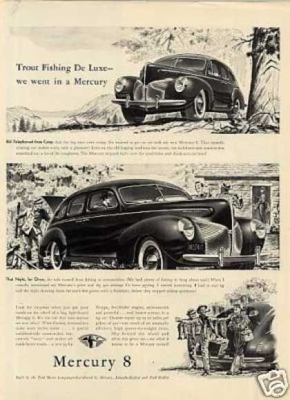 "Mercury 8 Car Ad ""Trout Fishing Deluxe... (1940)"