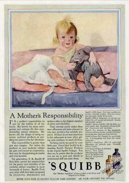 Baby Art &quot;A Mothers Responsibility&quot; Squibb (1924)