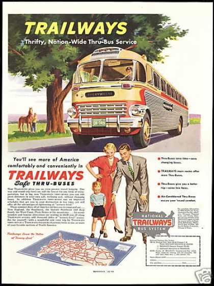 Trailways National Thru-Bus Travel (1950)