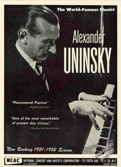 Nice Alexander Uninsky Photo Pianist Booking (1951)