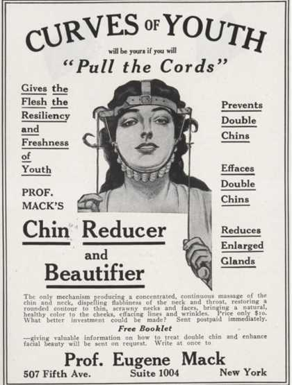 Curves of Youth, Humour Inventions Chin Reducer, Antiageing Skincare, UK (1890)