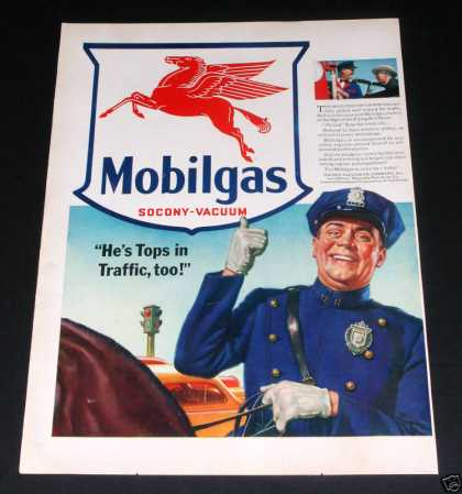Old , Mobilgas, Cop On Horse (1941)
