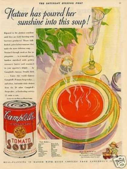 "Campbell's Tomato Soup Ad ""Nature Has Poured... (1930)"