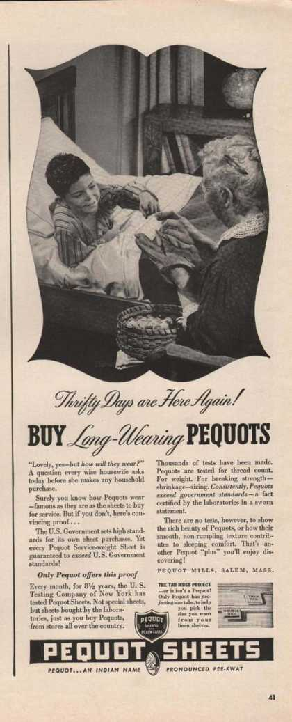 Pequot Long Wearing Sheets (1942)