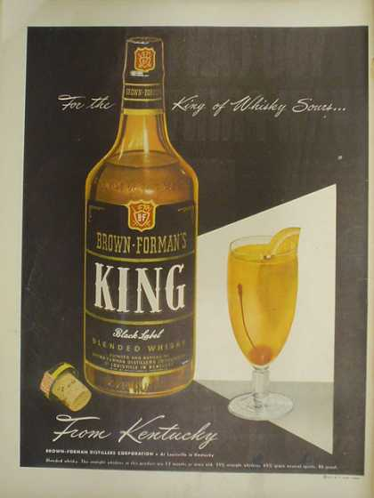 Brown Formans King Black Label Blended Whiskey from Kentucky (1947)