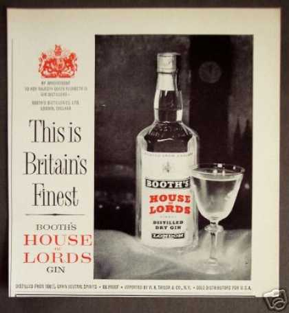 House of Lords Gin Appointment To Her Majesty (1962)
