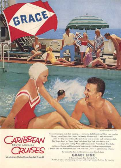 Grace Line Caribbean Cruise Ship Swim Pool (1957)