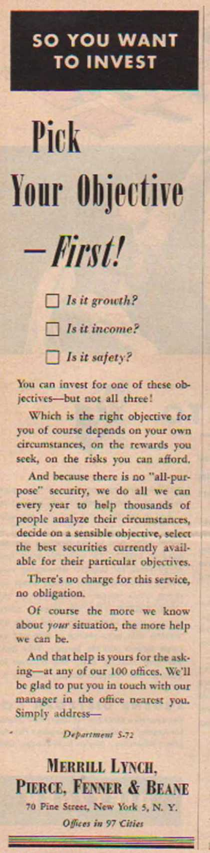 Merrill Lynch – Pick Your Objective First – Sold (1951)