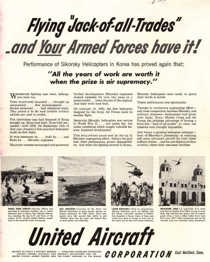 "United Aircraft Corporation's Sikorsky Helicopters – Flying ""Jack-of-all-Trades"" -and Your Armed Forces have it (1951)"