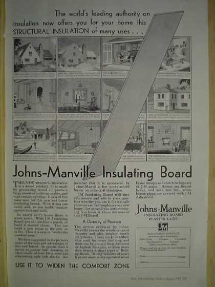 Johns Mansville Insulating Board Use it to widen the comfort zone (1930)