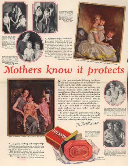 Lever Brothers Company's Lifebuoy Health Soap – Mothers know it protects (1925)