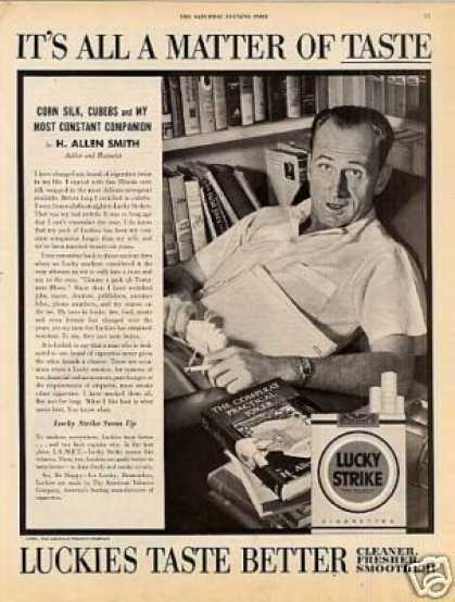 Lucky Strike Cigarettes Ad H. Allen Smith (1954)
