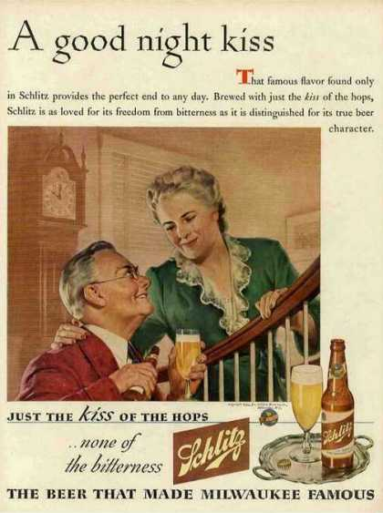 """A Good Night Kiss"" Antique Schlitz Beer (1944)"
