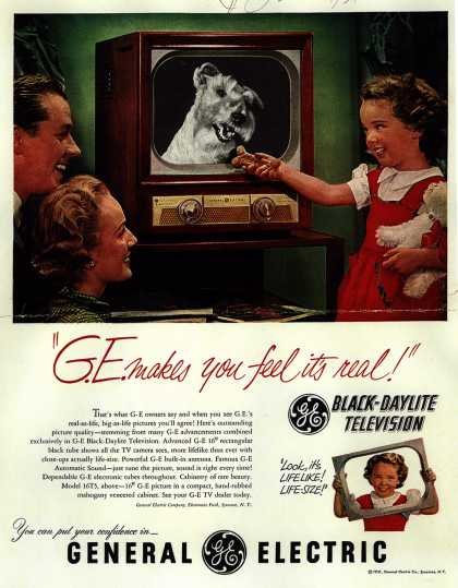 "General Electric Company's Black-Daylight Television – ""G.E. makes you feel it's real!"" (1951)"