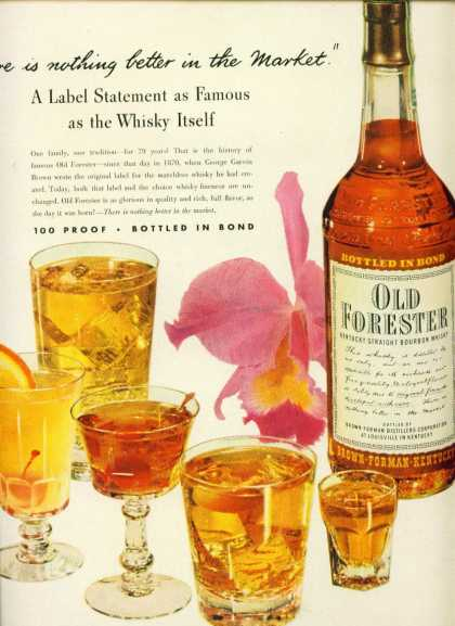 Old Forester Kentucky Straight Bourbon Whiskey (1949)