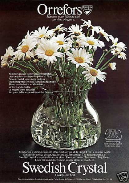 Orrefors Sweden Crystal Flowers Vase Photo (1976)